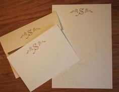 Monogram Correspondence Cards, Letterhead and Printed Envelopes / Vintage Monogram / Retro Stationery