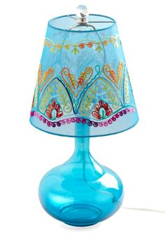 Come Bright In Lamp in Blue by Karma Living - Blue, Boho, Embroidery
