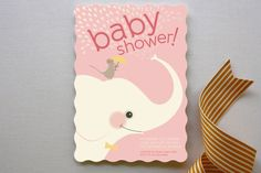 Elephant Showers Baby Shower Invitations by kadie foppiano at minted.com