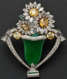 Art Deco Platinum Diamond Brooch in Jade Vase