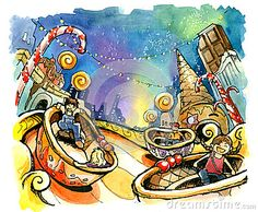 amusement park illustration | Stock Photo: Theme park, amusement park illustration fun summer