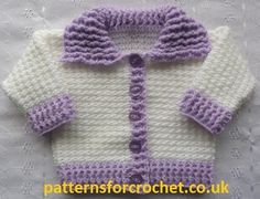 Free pattern for 0-3 month cardigan at Favecrafts.  #crochet #baby