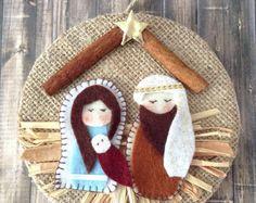 Nativity Ornament / Christmas Nativity Ornament / Christmas Tree Ornament / Nativity Xmas Decoration / Handmade and Design in Felt - Burlap