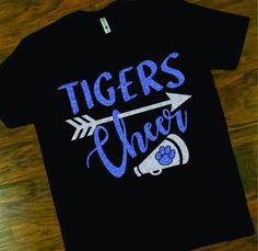School Spirit Tigers Cheer Tee, Tigers Cheerleader Tee, Custom School Cheer T-shirt by shopMKD on Etsy Cheer Mom Shirts, Cheerleading Shirts, School Spirit Shirts, Team Shirts, School Shirts, Cheerleading Stunting, Volleyball Drills, Volleyball Quotes, Volleyball Gifts