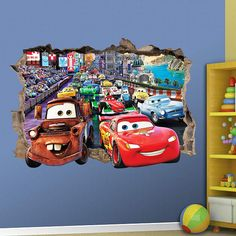 DISNEY CARS - 3D WALL STICKER SMASHED BEDROOM  CHOOSE DESIRED SIZE - You may choose between 3 different sizes: 1. Small: 57cm x 40cm ⇔22.44 X 15.75 2. Large: 86cm x 60cm ⇔ 33.85 X 23.62 3. Huge: 120cm x 84cm ⇔ 47.25 X 33.07 ========================================= Easy to install - Just Applying wall decals has never been easier - Just peel & Stick!  All of our decals are printed on a VERY HIGH CLASS VINYL, to make sure your wall stays perfect and safe.  Out vinyl stickers are perfectly…