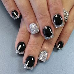 Black and Silver Nail Design for Teenagers Black Silver French ...