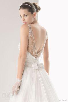 rosa clara wedding dresses 2014 bridal claudia sleeveless gown over skirt close up