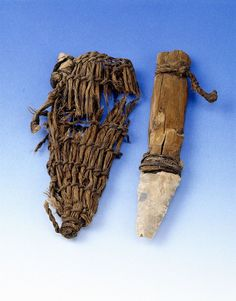 Otzi, the Iceman's dagger with scabbard. 13 cm long. c. 3300 BCE