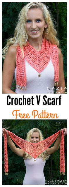 Crochet Clothes Crochet V Scarf Free Pattern and Video Tutorial - Pretty V Scarf FREE Crochet Patterns for warmer months. These patterns can be used to add color to a basic ensemble or in place of a necklace to add layers. Poncho Crochet, Mode Crochet, Knit Or Crochet, Crochet Gifts, Crochet Scarves, Crochet Clothes, Knitting Scarves, Diy Clothes, Crochet Granny