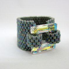 Swarovski ring/ Beaded ring/ Swarovski Crystal Jewelry/ by Ranitit, $30.00