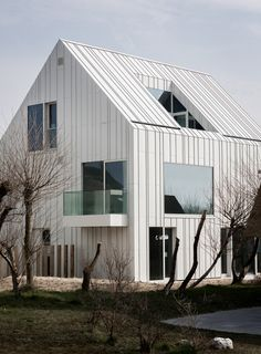 White aluminium panels give a ridged texture to the walls and rooftops of these homes near Belgium's coastline.