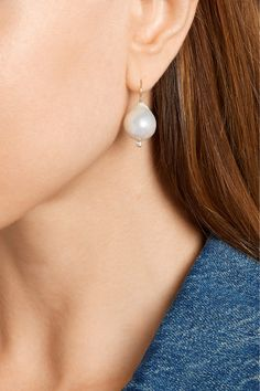 Mizuki 14k Gold Pearl & Diamonds Earrings fykTu
