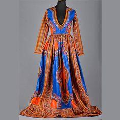 African Print Dashiki dress, Blue dashiki maxi dress with plunging neckline, 100% Holland cotton, African Wax fabric, angelina maxi dress
