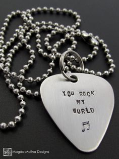 "The ""YOU ROCK MY WORLD"" Hand Stamped Omnisex Guitar Pick Necklace The ""POWERED BY LOVE"" Hand Stamped Omnisex Guitar Pick Necklace (gift idea, women, men, jewelry, handmade, meaningful, shopping, holiday, music, musician, gift)"