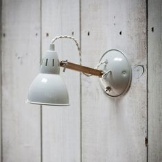 Oak And White Angled Wall Lamp for the kitchen?