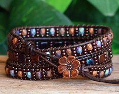 Beaded Leather Wrap Bracelet Metallic Green Patina by PJsPrettys