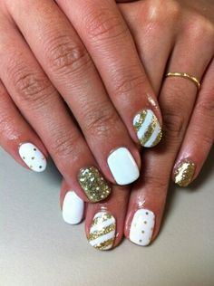 White and gold #naildesign