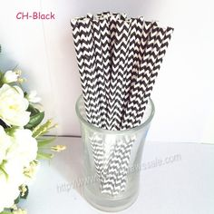unusual drinking straws | ... :: Chevron Paper Straws :: Black Chevron Print Paper Straws 500pcs