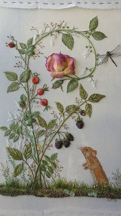 Margh Art - Embroidery via Yolanda Vanveen Herb Embroidery, Cushion Embroidery, Hand Work Embroidery, Hardanger Embroidery, Silk Ribbon Embroidery, Hand Embroidery Designs, Embroidery Thread, Cross Stitch Embroidery, Embroidery Patterns
