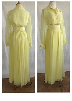 Vintage 1970s Canary Yellow Maxi dress by DustyDesert on Etsy