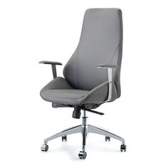 Impacterra Canjun High-Back Leather Executive Chair Upholstery: Gray Office Chair Mat, High Back Office Chair, Desk Chair, Swivel Chair, Contemporary Office Chairs, Modern Chairs, Pastel Furniture, Furniture Chairs, Conference Room Chairs