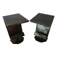 Art Deco Artist Bronze Patina Side Tables - A Pair