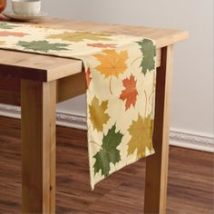 Table Runner-Falling Leaves Long Table Runner - fall decor diy customize special cyo