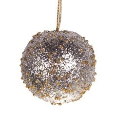 Pale Gold/Silver Beaded Bauble - 65mm