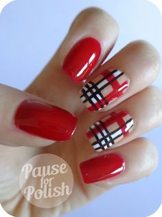 Pause For Polish: Claire's Accessories - Ruby | Plaid Nail Art