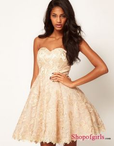 2013 Charming A-Line Sweetheart Strapless Short/Mini Soft Ivory Lace Prom/Cocktail Dress