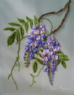 Wonderful Ribbon Embroidery Flowers by Hand Ideas. Enchanting Ribbon Embroidery Flowers by Hand Ideas. Learn Embroidery, Silk Ribbon Embroidery, Embroidery For Beginners, Hand Embroidery, Ribbon Art, Ribbon Crafts, Flower Crafts, Embroidery Designs, Embroidery Stitches