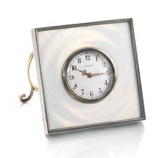 Fabergé silver and enamel timepiece, workmaster Henrik Wigström, St Petersburg, 1908-1917