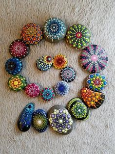 Mandala Stone OOAK Painted Rock Dot Art paintings trees Easy Paint Rock For Try at Home (Stone Art & Rock Painting Ideas) Rock Painting Patterns, Dot Art Painting, Rock Painting Designs, Mandala Painting, Orange Painting, Seashell Painting, Pebble Painting, Pebble Art, Stone Painting
