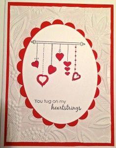 Hearts on a String Handmade Valentine Card
