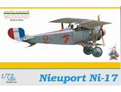 The Eduard Nieuport Ni-17 in 1/72 scale from the plastic aircraft model range accurately recreates the real life French biplane fighter aircraft flown during World War I. This plastic aircraft kit requires paint and glue to complete.