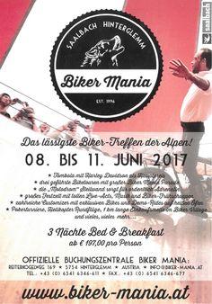 Bikermania 2017 - Die 21. Ausgabe des Hinterglemmer Harley Treffens vom 08. bis 11. Juni. Jetzt Zimmer sichern!