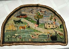Farm House with animals trees & village Scene. This is a woulderful antique rug great for displaying. Primitive Antiques, Primitive Folk Art, Vintage Rugs, Vintage World Maps, Horse Rugs, Rug Hooking Patterns, Hand Hooked Rugs, Floral Rug, Tapestry