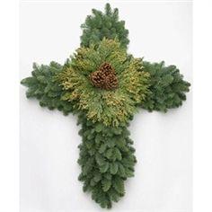 24 Inch Noble Fir Cross Wreath, Christmas Cross Wreath | Green Valley Christmas Trees