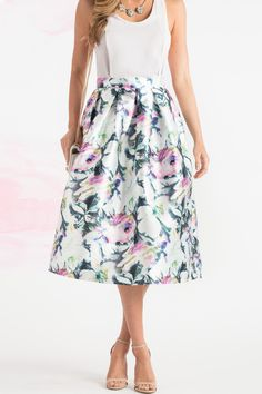 Geneva Multicolor Floral Midi Skirt