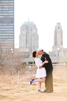 OKC Downtown Engagement Sessions Navy