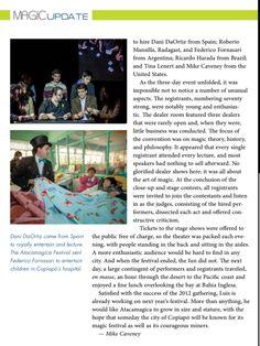 Aparición en Magic Magazine. Pag. 2. Estados Unidos