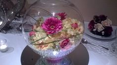 Large Fish bowl with artificial flowers