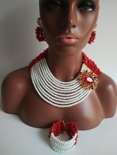 Find More Jewelry Sets Information about Beautiful Red Coral with White Crystal Beads Necklaces Nigerian African Beads Jewelry Set ABG218,High Quality coral jewels,China coral lapis Suppliers, Cheap coral panels from Alisa's Jewelry DIY Store on Aliexpress.com