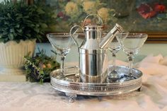 1938 Reed & Barton Milk Jug Cocktail Shaker - Sheffield Silver and Formica Gallery Tray - Crystal Martini Glass Set - Bar Set