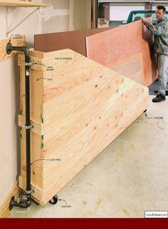 Garage Shop Ideas and Garage Workshop Building Design Tips 86088233 #diyworkshop #garagetoolstorage Plywood Storage, Lumber Storage, Storage Cart, Storage Ideas, Lumber Rack, Tool Storage, Small Storage, Diy Storage, Workbench With Storage