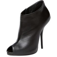 Giuseppe Zanotti Nika Peep-Toe Bootie (1.400 RON) ❤ liked on Polyvore featuring shoes, boots, ankle booties, black, black peep toe booties, black high heel boots, black ankle booties, short black boots and ankle boots