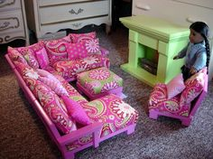 doll couch chairs living room furniture sectional for american girl dolls or 18 inch dolls - How To Make A American Girl Room