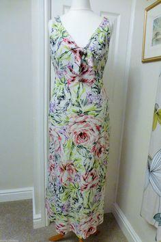 LINEA MULTI COLOURED FLORAL LINEN TEA DRESS VINTAGE STYLE UK 8