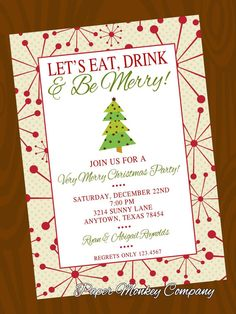 Holiday Christmas Invitation with FREE by PaperMonkeyCompany, $1.00