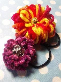とっても簡単❤︎手作りの髪飾りポンポンフラワーのヘアゴムの作り方!